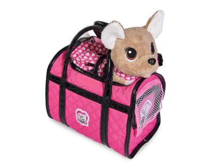 """Плюшевая собачка Chi-Chi love """"Париж 2"""" в платье, светящемся в темноте, с сумкой, 20 см"""