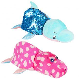 """Мягкая игрушка Моржик-Голубой дельфин """"Вывернушка Блеск"""", 30 см"""